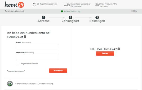 Ein Best-Practice-Beispiel für einen guten Checkout-Prozess im Ecommerce ist Home24.